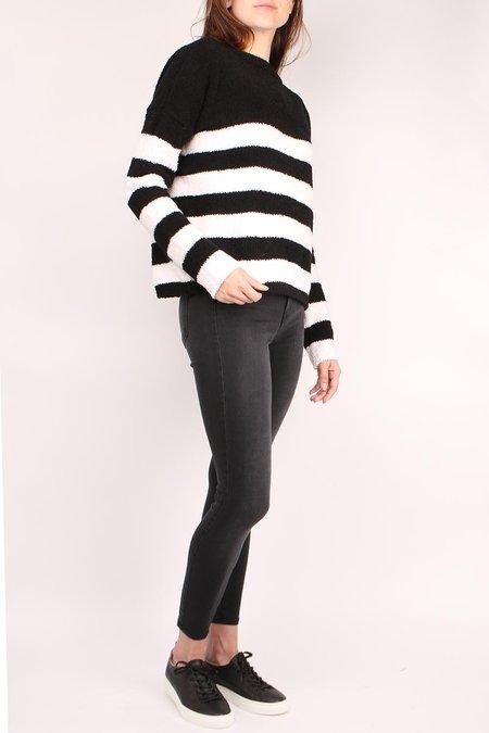 ATM Chenille Boat Neck Sweater - Black/Chalk