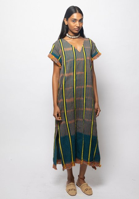 Studio One Eighty Nine Baoule V-Neck Caftan - Navy/Yellow Stripe