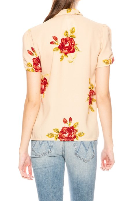 Amuse Society Roses Button Down Blouse - Sand