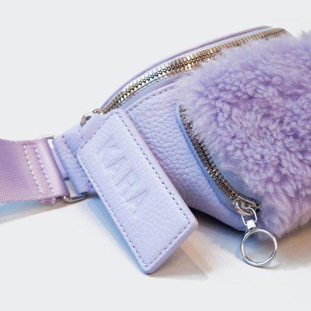 KARA Faux Shearling Bum Bag - Lilac