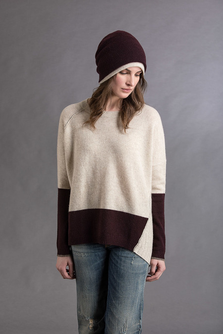 Paychi Guh Cashmere Block Crew - Oatmeal/Currant