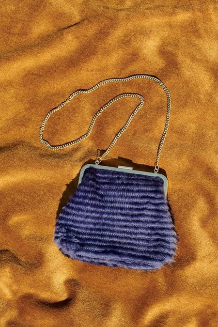 Clare V. Shearling Flore Purse - Midnight