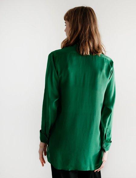Auralee Silk Satin Georgette Shirt - Green