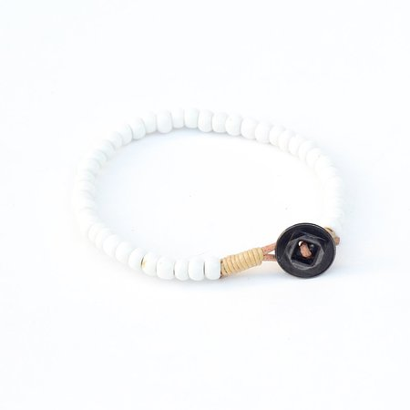 Unisex Vintage Antique African Trade Bead Bracelet - WHITE