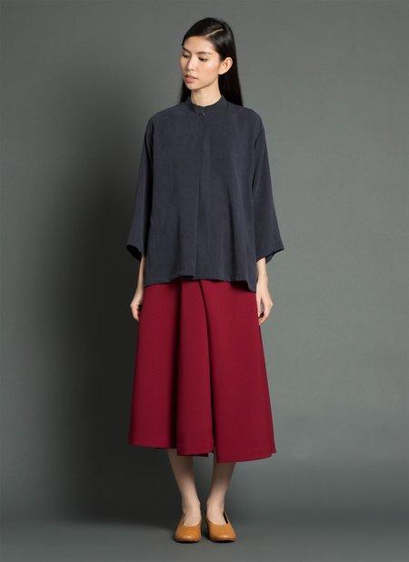 KAAREM Sand Wave Mid Sleeve Pleat Shirt - Dark Blue