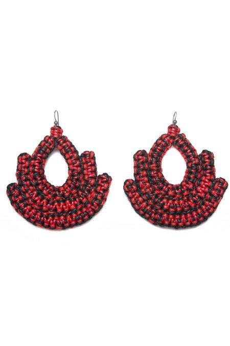 Caralarga Guerrera Earring - Red/Black