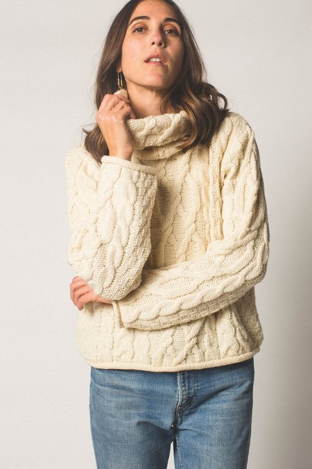Preservation Vintage Cowl-neck Cable Knit Sweater - Cream