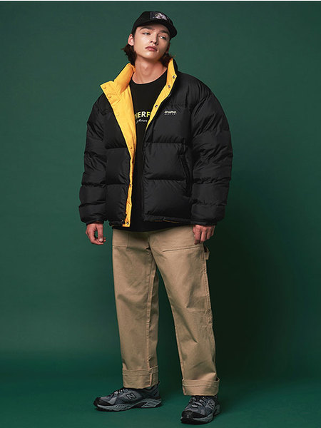 Unisex ANOTHER FRAME Reversible Puffy Down Jacket - Black/Yellow