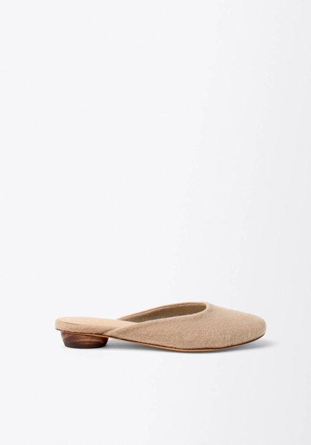 Mari Giudicelli Leblon Wool Mule - Soft Beige/Gray