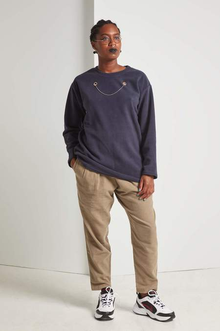 Faux/Real Show Me Now Snuggle Long Sleeve Shirt - Navy