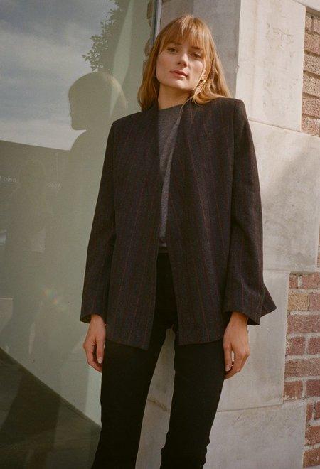 Da/Da Diane Ducasse Bathrobe Jacket - Grey/Bordeaux Stripe