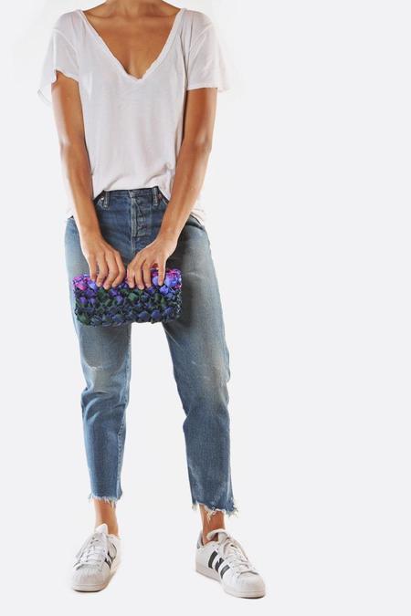 Lorenza Gandaglia Ribbon Clutch with Chain Strap - Blue Tones