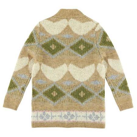 KIDS Morley Child Ibia Cardigan - Royal Camel Cream Pattern