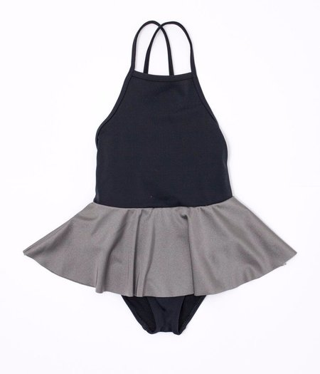 KIDS MOTORETA Colorblocked Onie-Piece Swimsuit - Black/Silver