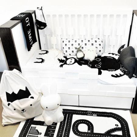 kids Natti Natti Creature Pile Toddler Duvet - white/black