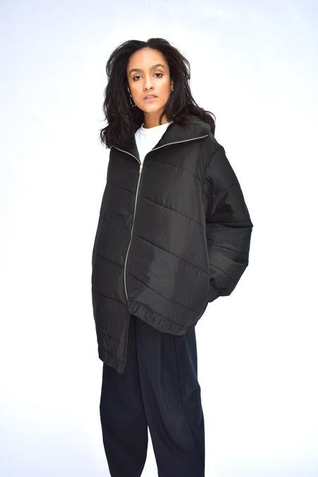 Goncalo Peixoto Puffed Asymmetric Hooded Jacket - Black