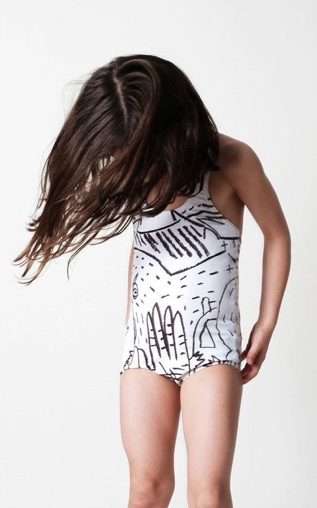 KIDS Wolf & Rita Filomena Swimsuit - WHITE/BLACK