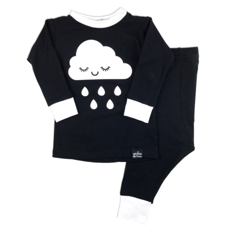 KIDS WHISTLE & FLUTE Kawaii Sleepy Cloud Pajama Set - BLACK/WHITE