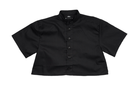 KIDS Meme Nico Cropped Button-Up Shirt - BLACK