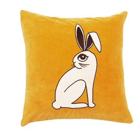 Mini Rodini Velvet Rabbit Cushion Cover - YELLOW