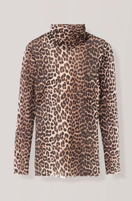 Ganni Tilden Mesh Top - Leopard