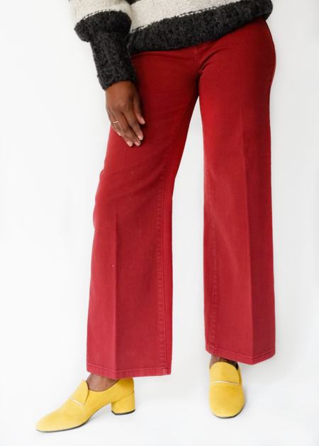 VINCE Wide Leg Cropped Denim - Berry