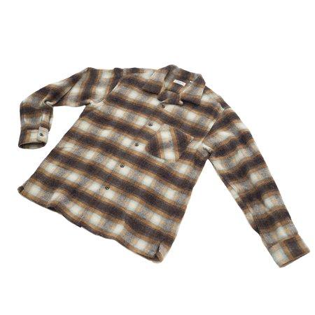 Sugar Cane Shaggy Wool Check Open Shirt - Beige