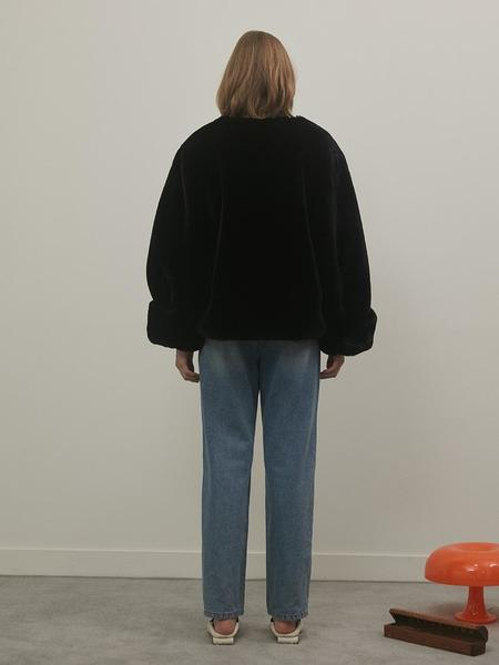 Among Roll-Up Faux Fur Jacket - Black