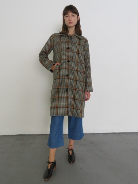 REJINA PYO CARY COAT - CHECKERED ORANGE/BROWN