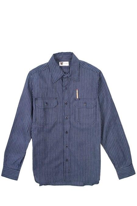 Tellason Clampdown Japanese Striped Selvage shirt - blue