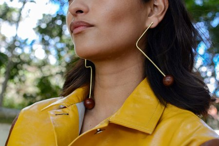 Edas Lyn Earrings - Brass/Rosewood