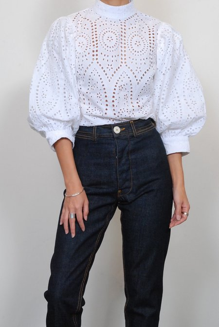 Ganni Broderie Anglaise Blouse - Bright White