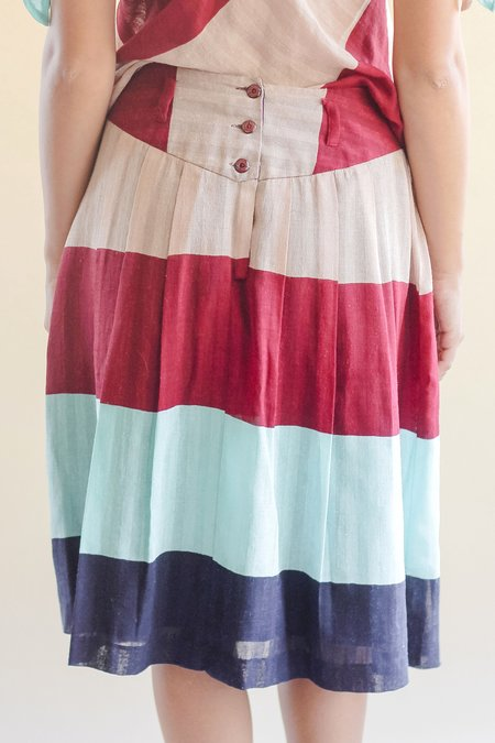 Vintage Devore Poole Silk Cotton Midi Skirt - Stripe