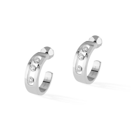 Messika Move Hoop Earrings - 18k White Gold with Diamonds