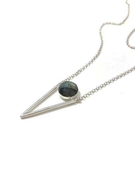 Justine Brooks Chevron Necklace - sterling silver/moonstone
