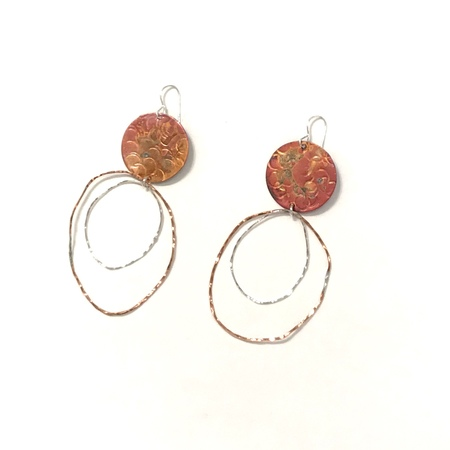 Patsy Kolesar Disc and Organic Circles Earrings - sterling silver/copper