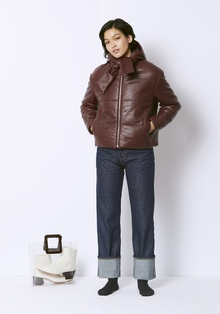 Veda Sharpe Leather Puffer Coat - Bordeaux