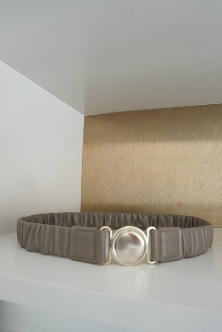 Maison Boinet Elastic Belt With Circle Buckle - Taupe