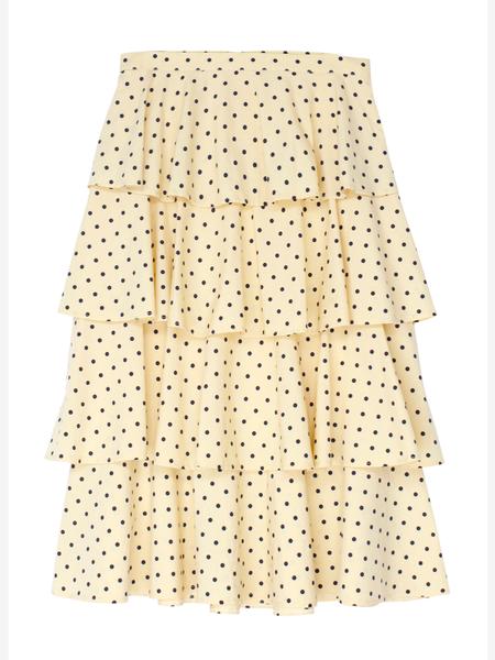 BAUM UND PFERDGARTEN Scarlet Cotton Stretch Skirt - Lemon/Blue Polka Dot