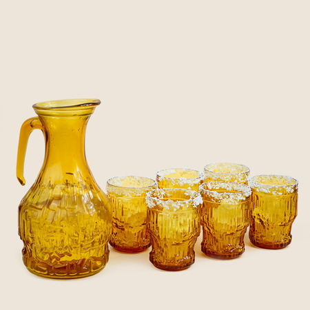 THE TABU SHOP Vintage Aztec Glasses and Pitcher Set