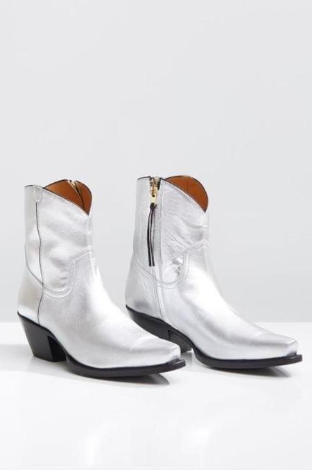 R13 Cowboy Ankle Boot - Silver