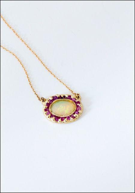 Emilie Shapiro Pendant - Opal/Pink Sapphire
