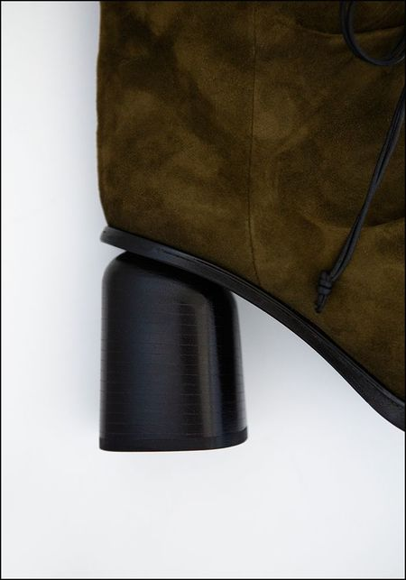 Halmanera Rounded Toe Suede Bootie - OLIVE