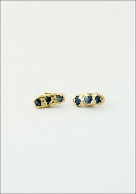 Emilie Shapiro Mini Cobblestone Studs - 14K Blue Sapphire