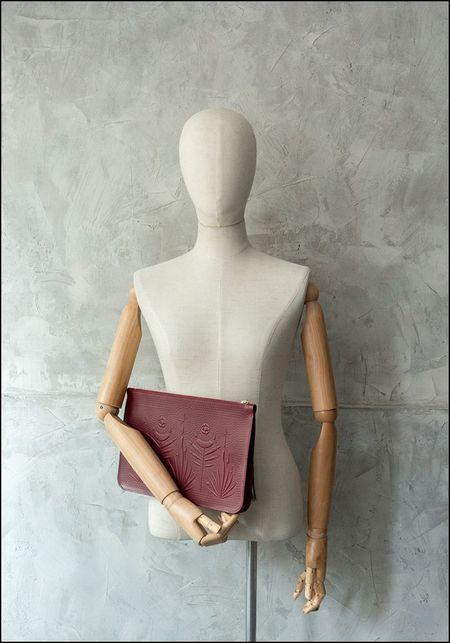 Animal Handmade Embossed Leather Night Safari Clutch - OXBLOOD