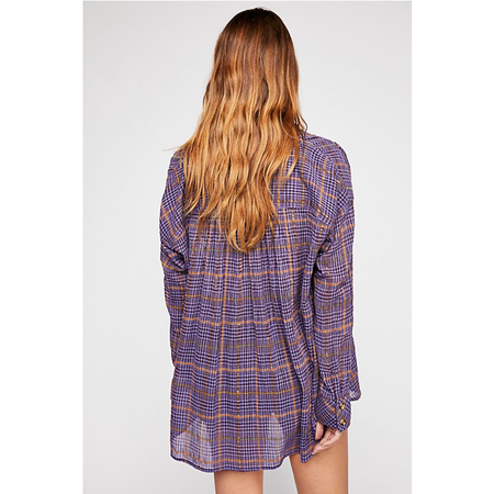 Free People Break My Stride Buttondown Top - Purple Plaid