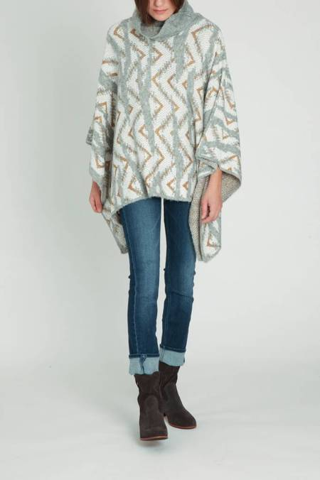 Sita Murt Patterned Poncho - Gray/white