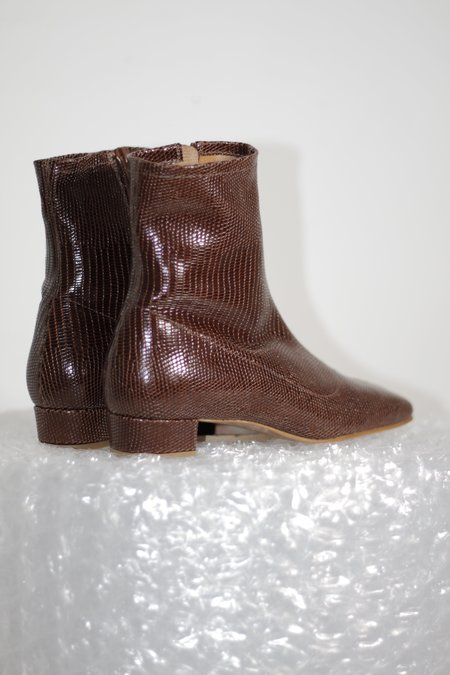 BY FAR Este Lizard Embossed Leather Boots - Brown