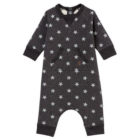 KIDS Petit Bateau Baby Long Sleeved Jumpsuit - Navy Blue With Silver Stars