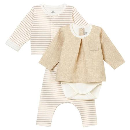 KIDS Petit Bateau Baby Three Piece Set Cardigan, Pants And Bodysuit - White/Taupe Brown